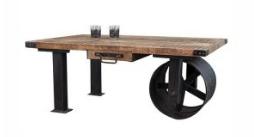 Industrialised One Side Wheel Style Coffee Table