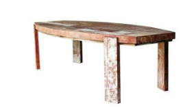 Fish Shaped Natural Finish Wooden Dining Table