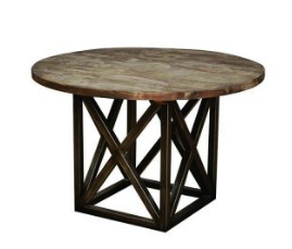 Natural Industrial Round Dining Table
