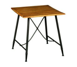 Industrial Square Shape Wooden Top Metal Leg Dining Table