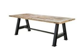 Industrial Wood Top & Metal Base Dining Table