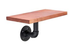 Vintage Industrial Wall Shelf Mode With Pipe And Solid Wood