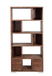 Acacia Wood Live Edge Steel Book Shelf