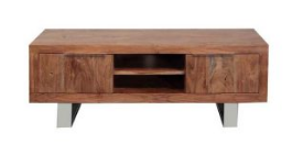 Acacia Wood Stainless Steel TV Unit