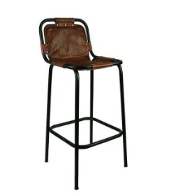 Industrial Leather Metal Bar Chair