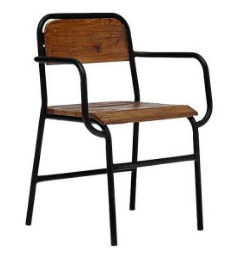 2 Arm Metal Wooden Outdoor Chair