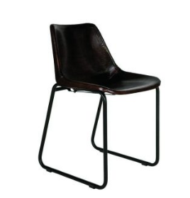 Black Leather Industrial Dining Table Chair