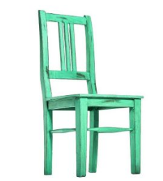 Blue Solid Wood Dining Table Chair