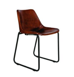 Brown Leather Industrial Dining Table Chair