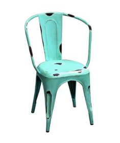 Industrial Style Blue Metal Dining Table Chair